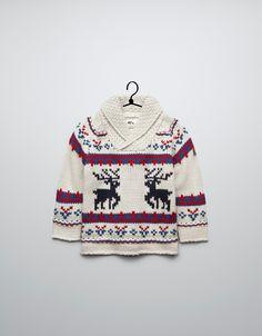 reindeer pattern jacquard sweater - Cardigans and sweaters - Baby boy (3-36 months) - Kids - ZARA United Kingdom