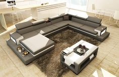Divani Casa 5081 Grey and White Leather Sectional Sofa w Coffee Table - Stylish Design Furniture