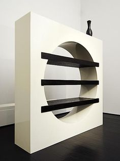 Serge Manzon, White lacquered bibliotheque with three stained oak shelves, c.1970. / Magen H. Gallery
