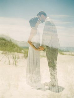 style | double exposure beach wedding | via: style me pretty