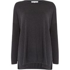 Gray & Willow Zanu Side Split Jumper (60 CAD) ❤ liked on Polyvore featuring tops, sweaters, dark grey, sale, slimming tops, knit top, dark grey sweater, thick knit sweater and oversized jumper