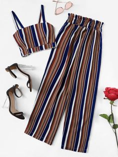 Striped Crop Cami Top With Pants -SheIn(Sheinside) - - Striped Crop Cami Top W. - Striped Crop Cami Top With Pants -SheIn(Sheinside) – – Striped Crop Cami Top With Pants -SheIn(Sheinside) Source by yummrasstylish Source by TrudieShop - Teen Fashion Outfits, Outfits For Teens, Girl Fashion, Girl Outfits, Fashion Edgy, Fashion Fall, Fashion Pants, Cute Casual Outfits, Cute Summer Outfits