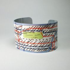 Cuff Bracelet New York City Vintage IRT Subway Map Wide Metal