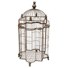 Bird Cage  France  20th Century  Wonderfully decorative metal birdcage in the shape of a cathedral. Perfect as a sculpture or your favorite winged friend.
