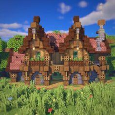 Here's a bridged house i built...: Minecraft Minecraft Steampunk, Casa Medieval Minecraft, Minecraft Mansion, Minecraft Cottage, Cute Minecraft Houses, Minecraft City, Minecraft Construction, Amazing Minecraft, Minecraft Crafts