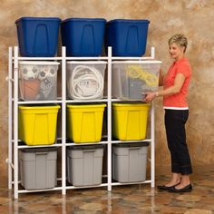 The Bin Warehouse 12 Tote Storage System is the perfect way to store and organize the 32 Gallon Fold-A-Totes or any tote that you want. This system allows the totes to slide in and out with ease, and provides access to any tote independently. Bin Warehouse Systems are constructed of sturdy PVC tubing and comes complete with wall mounting hardware. They also include 12 I.D. labels for your convenience. Using Phillips head powered screwdriver with a 2 bit. Unit holds twelve 18 to 32 gallon…