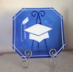 Fused glass graduation plate or tray - Custom colors available.Original.. $55.00, via Etsy.