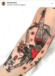 Pin Up Girl Tattoo, Pin Up Tattoos, Life Tattoos, Cool Tattoos, Tatoos, Traditional Tattoo Girls, Traditional Tattoo Animals, Traditional Tattoo Leg Sleeve, Circus Tattoo