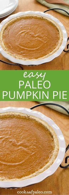 This paleo pumpkin pie is a quick and easy gluten-free pumpkin pie recipe for fall or Thanksgiving. It's grain-free and refined sugar-free. via @cookeatpaleo