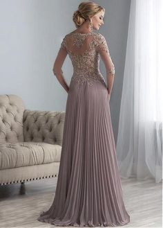Buy discount Exquisite Tulle & Chiffon Scoop Neckline Floor-length A-line Mother Of The Bride Dresses With Beaded Lace Appliques at Magbridal.com