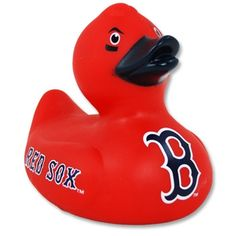 "Not looking for the traditional yellow rubber duck? We have that too with this 4"" tall vinyl duck with ""Red Sox"" in traditional Red Sox print on the wings, a big ""B"" logo of the chest and eye black is"