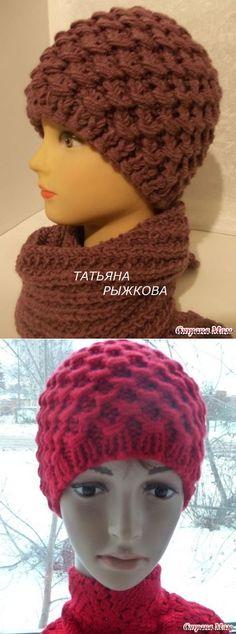 Шапка спицами с обвитыми петлями Knitted Hats, Crochet Hats, Bandanas, Crochet Accessories, Womens Scarves, Headbands, Quilts, Knitting, Handmade