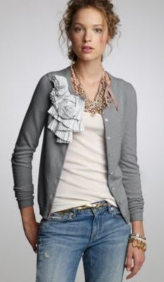 Outfit Posts: outfit post: floral embellished grey cardigan, gold jewelry, jeans