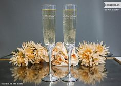 Waterford Monique Lhuillier Sunday Rose Champagne Glasses - (Set of TWO) Custom Engraved Toasting Flutes - Personalized Wedding Gift by LetsTieTheKnot Engraved Champagne Flutes, Flute Champagne, Rose Champagne, Toasting Flutes, Champagne Glasses, Sunday Rose, What Are Colours, Wedding Toasts, Personalized Wedding Gifts