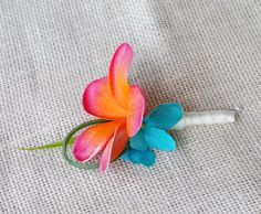 Coral Turquoise Plumeria and Hydrangeas Tropical by Wedideas, $8.00
