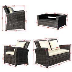 4 PCS Brown Wicker Cushioned Outdoor Patio Set Garden Lawn Sofa Furniture Seat