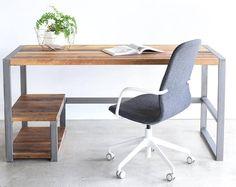 Rustic Office Desk / Industrial Patchwork Desk made from Reclaimed Wood Rustic Office Desk, Rustic Desk, Industrial Desk, Reclaimed Wood Desk, Desk Legs, Desk Height, Old Desks, L Shaped Desk, Types Of Wood