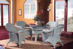Seaside Retreat Dining Set with Club Chairs by Classic Rattan - http://www.americanrattan.com/r-drseasideretreat.html