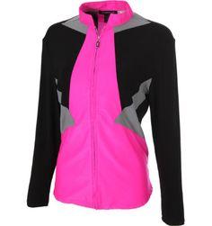 DKNY Women's Full Diagonal Colorblock Azalea Long Sleeve Polo