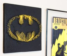 Batman String Art  Wall hanging by halftonehandicrafts on Etsy, $35.00
