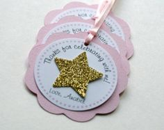 Twinkle Twinkle Little Star Favor Tags, Pink and Gold Twinkle Birthday Tags…