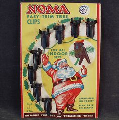 Old Noma Christmas Tree Light Clips with Santa
