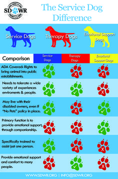 Do you know the difference between a #ServiceDog, a #TherapyDog and an #EmotionalSupportAnimal?  Here's a quick cheat sheet to understand the difference. All SDWR service dogs are protected under the ADA and are granted public access. Find out more about service dog law at www.sdwr.org/resources/service-dog-law/