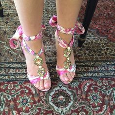 "Pucci sandals: Satin Pink-Kid Peonia Pink Pucci lace up sandals. About 3.5"" heel height. Runs a bit small. I'm a size 7 and it fits me perfectly. In great condition. Made in Italy. Comes in original box. I can go lower on ️️. Let me know if you want more pics Pucci Shoes Sandals"