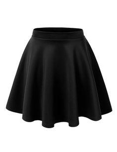 MBJ WB211 Womens Basic Versatile Stretchy Flared Skater Skirt S BLACK