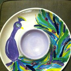 Peacock painted pottery! Made at the accidental artist in greenville, NC.