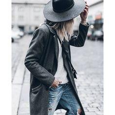 hat, grey coat and denim