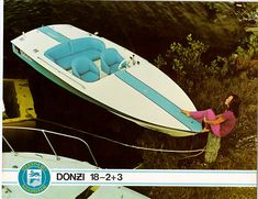 Donzi Blue 18-2+3. baby Blue hull, stripe and seats. White deck. Brochure boat.