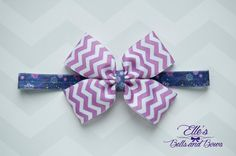 Handmade Orchid and White Chevron Boutique Bow on Purple Paisley Elastic Headband by EllesBellsandBows on Etsy