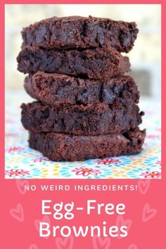 egg free dessert Brownie Recipe Without Eggs, Eggless Brownie Recipe, Desserts Without Eggs, Classic Brownies Recipe, Baking Without Eggs, Egg Free Desserts, Eggless Desserts, Egg Free Recipes, Brownie Recipes