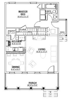 Garage Plans With Loft, House Plan With Loft, Small House Floor Plans, Cabin Floor Plans, Cabin Plans With Loft, Garage Floor Plans, Garage Apartment Plans, Garage Apartments, Small Apartment Plans