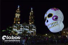 globo de helio para desfile, calavera dia de muertos, iluminada