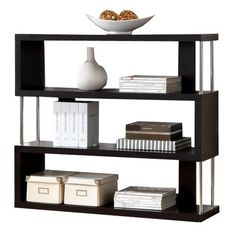 This artsy, modern faux wood bookcase will add style and storage to your living or home office space. Contemporary bookcase with 3 shelves. Style # at Lamps Plus. Contemporary Shelving, Modern Shelving, Contemporary Decor, Shelving Design, Modern Decor, Modern Design, 3 Shelf Bookcase, Modern Bookcase, Book Shelves