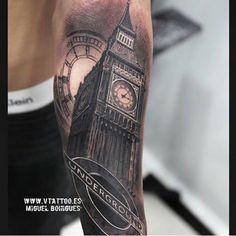 London Eye, God Tattoos, Tattoos For Guys, Big Ben Tattoo, Arm Tattoo, Sleeve Tattoos, Rio Tamesis, London Drawing, London Tattoo