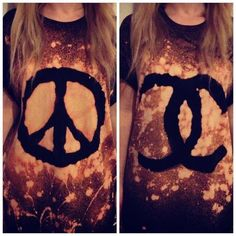 Peace Sign Galaxy Print T-shirt Tie Dye Bleached Oversized | eBay