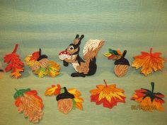 Fall quilling - squirrel, acorn, leaves - bjl