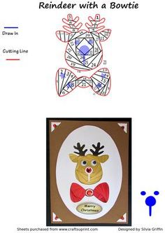 Reindeer with a Bowtie on Craftsuprint designed by Silvia Griffin - Cute fellow fro all those Christmas Cards for your friends and family.  - Now available for download!