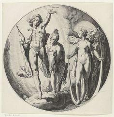 Vierde scheppingsdag: schepping van zon, maan en sterren, Jan Harmensz. Muller, Hendrick Goltzius, Hendrick Goltzius, 1589