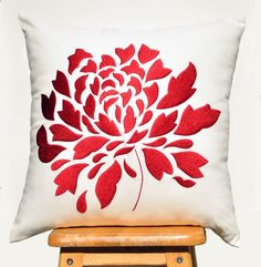 Red Dahlia Pillow Cover 18 x 18 Pillow Cover Square by KainKain, $24.00