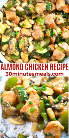 Almond Chicken is a quick and easy Chinese stir-fry recipe made with chicken thighs, almonds, veggies, all soaked in a savory sauce. #almond #chicken #30minutesmeals