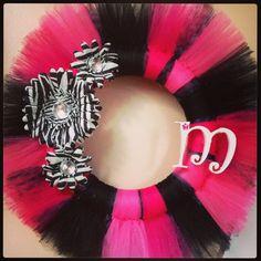 Hot Pink, Black & Zebra Tulle Wreath..Handmade by me! :-)