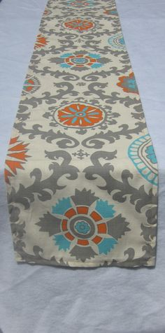 Rosa Mandarin Blue Orange and Gray on Ivory Table by LinneaDesigns, $20.00