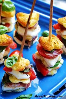Mozzarella Skewers - Like a toasted Caperese Salad on a stick!  Delicious!!