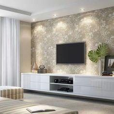 Home de madeira com papel de parede sala grande в 2019 г. Modern Tv Units, Room Design, Ceiling Design Modern, Living Room Decor, Home, Living Room Tv, Living Room Tv Unit, Living Room Tv Wall, Living Room Designs