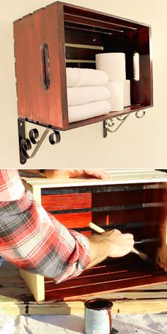 A quick and easy DIY Crate for bathroom towel storage.  - Will use the same stain on the crate and DIY robe/towel hook rack.