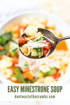 This Easy Minestrone Soup is a delicious classic vegetarian recipe that can also be made in the Instant pot or the Slow Cooker! This minestrone soup is packed with veggies and simmered in a flavorful, seasoned broth. Use your favorite noodles in this minestrone soup recipe and pack in the protein with cannellini beans! Delicious with a sprinkle of parmesan cheese and a side of garlic bread. #soup #vegan #vegetarian #minestrone #healthylunch Hearty Vegetable Soup, Homemade Bone Broth, Homemade Soup, Real Food Recipes, Soup Recipes, Vegan Vegetarian, Vegetarian Recipes, Bread Soup, Vegetarische Rezepte